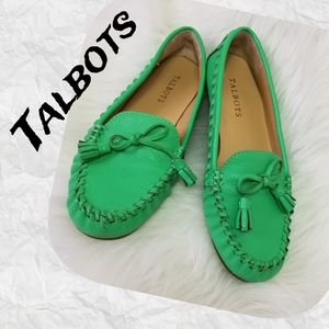 Talbots Loafer Flat Leather Green 7.5